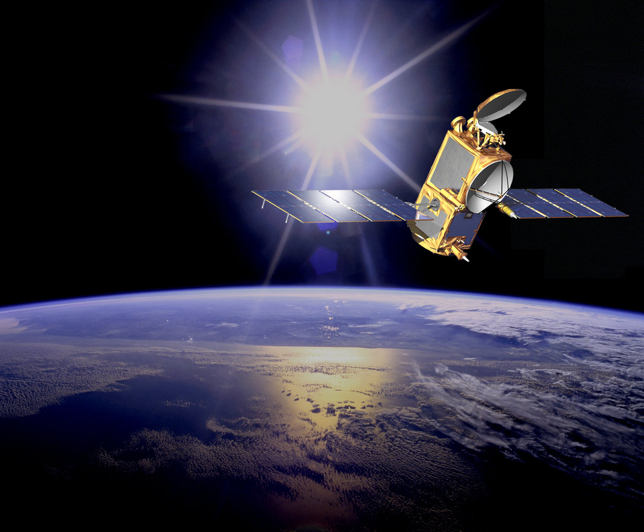 Artist's interpretation of the Jason 2 satellite.